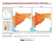 Map: India Total Population (1991, 2001): State of Maharashtra