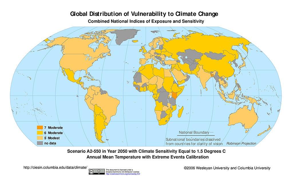 Maps intergovernmental panel on climate change ipcc sedac a2 550 climate sensitivity 15c extreme events 2050 gumiabroncs Choice Image