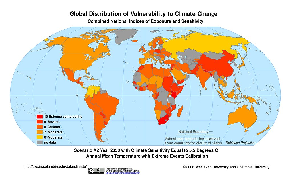 Maps intergovernmental panel on climate change ipcc sedac a2 climate sensitivity 55c extreme events 2050 gumiabroncs Gallery