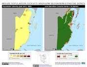 Map: Belize: Population Density and Low Elevation Coastal Zones