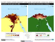 Map: Alexandria, Egypt: Population Density and Low Elevation Coastal Zones