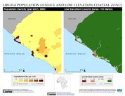 Map: Monrovia, Liberia: Population Density and Low Elevation Coastal Zones