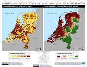 Map: Netherlands: Population Density and Low Elevation Coastal Zones