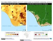 Map: Port Harcourt, Nigeria: Population Density and Low Elevation Coastal Zones