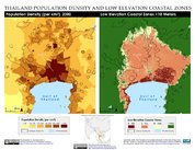 Map: Bangkok, Thailand: Population Density and Low Elevation Coastal Zones