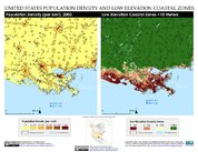 Map: New Orleans, Louisiana, United States of America: Population Density and Low Elevation Coastal Zones