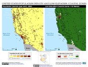 Map: Western United States of America: Population Density and Low Elevation Coastal Zones