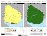 Map: Uruguay: Population Density and Low Elevation Coastal Zones