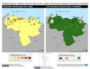 Map: Venezuela: Population Density and Low Elevation Coastal Zones