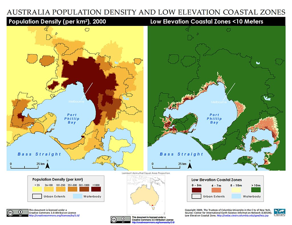Maps Low Elevation Coastal Zone LECZ SEDAC - Altitude above sea level map