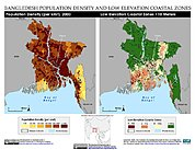 Map: Population Density & LECZ: Bangladesh