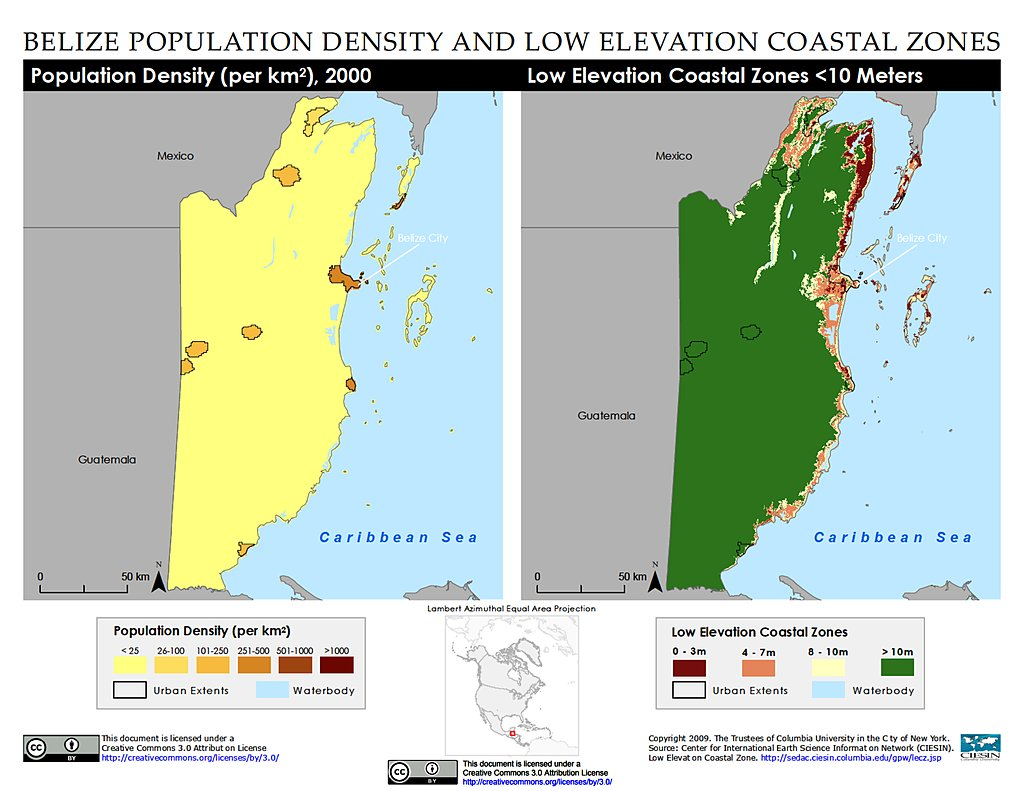 population density lecz belize map