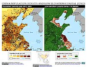 Map: Population Density & LECZ: Shanghai, China