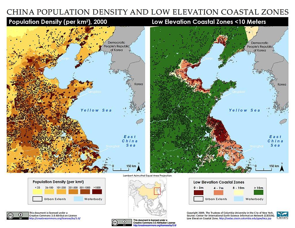 Maps Low Elevation Coastal Zone LECZ SEDAC - Shanghai on map with us
