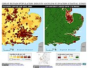 Map: Population Density & LECZ: London, Great Britain