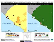 Map: Population Density & LECZ: Monrovia, Liberia