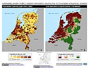 Map: Population Density & LECZ: Netherlands