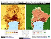 Map: Population Density & LECZ: Bangkok, Thailand