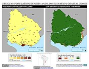 Map: Population Density & LECZ: Uruguay