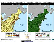 Map: Population Density & LECZ: Northeastern U.S.A.
