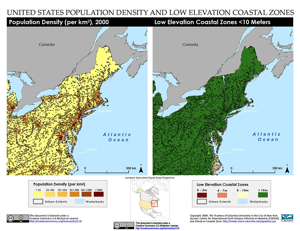 Maps Low Elevation Coastal Zone LECZ SEDAC - Elevation map of us