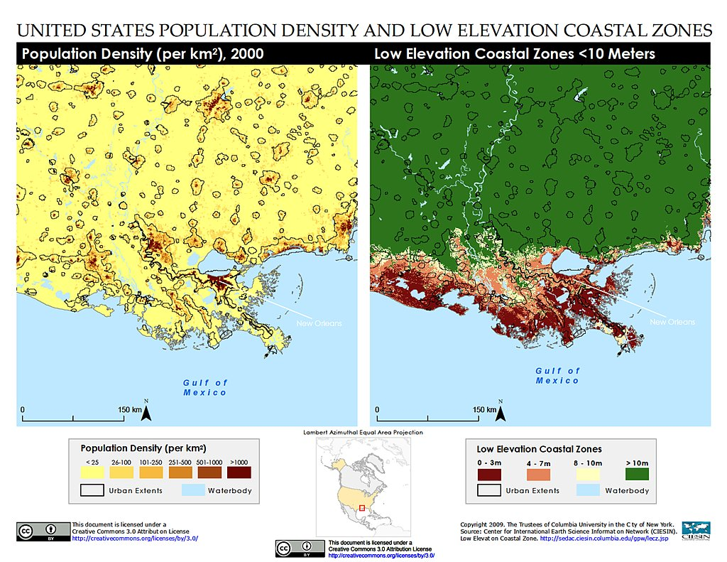 Maps Low Elevation Coastal Zone LECZ SEDAC - New orleans usa map