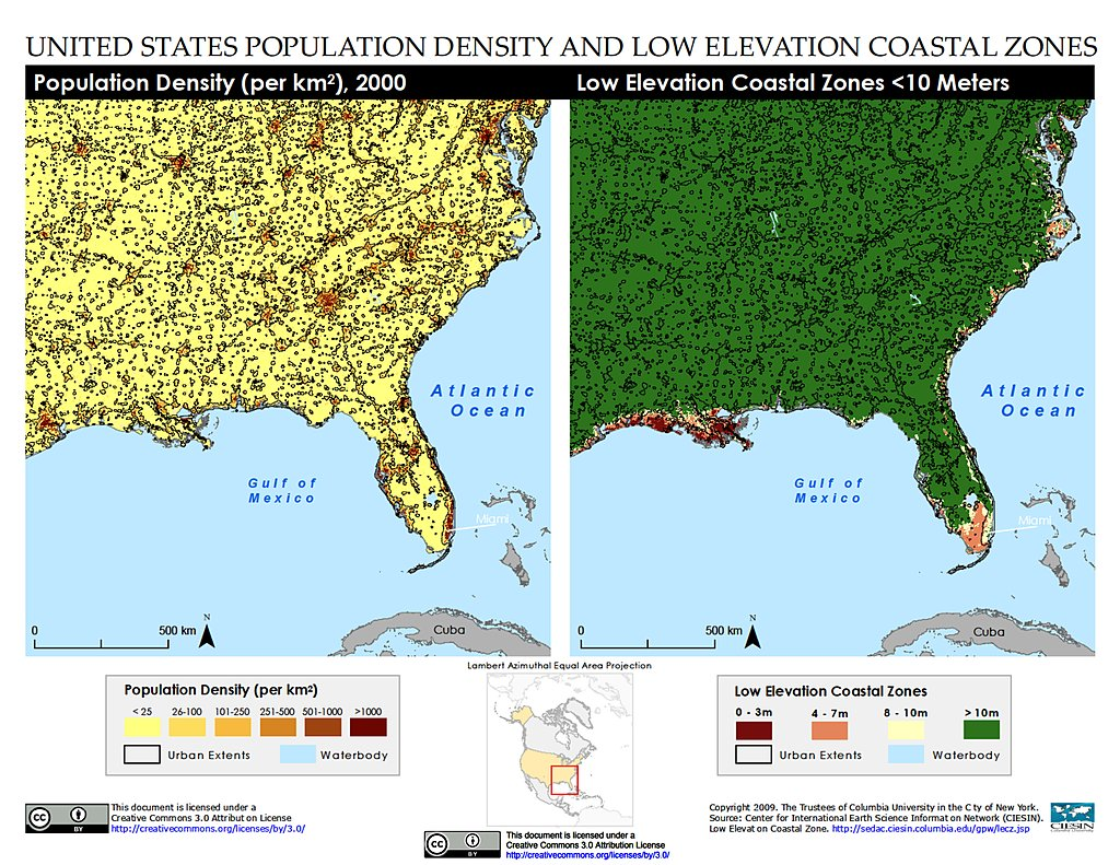 Maps  Low Elevation Coastal Zone LECZ SEDAC - Map of southeast us