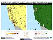 Map: Population Density & LECZ: Western U.S.A.