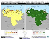 Map: Population Density & LECZ: Venezuela