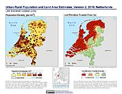 Map: Population & Land Area Estimates (2010): Netherlands