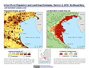 Map: Population & Land Area Estimates (2010): Northeast Italy