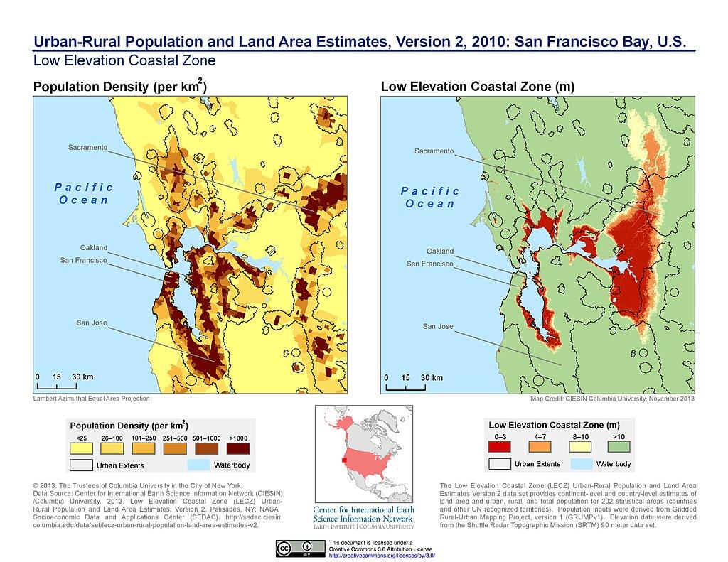 Maps  Low Elevation Coastal Zone LECZ SEDAC - Elevation map of usa