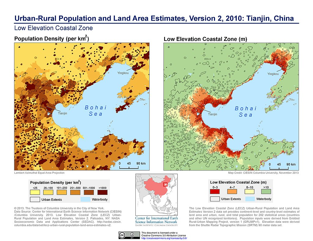 Maps urban rural population and land area estimates v2 for Chinese in the area