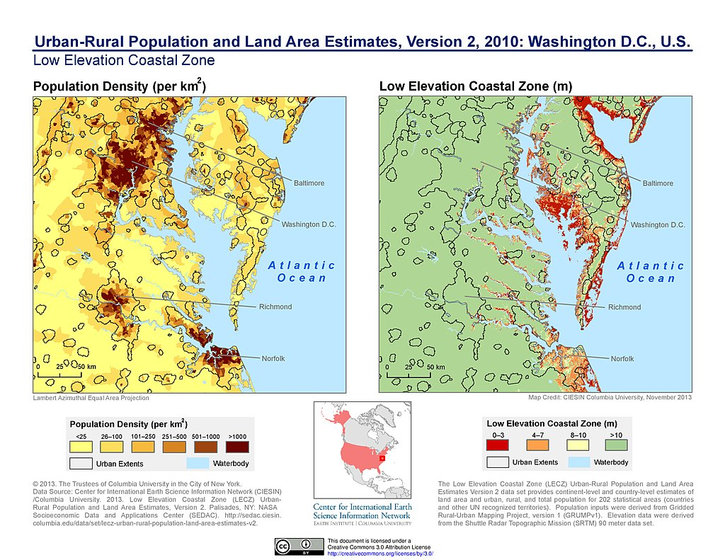 Maps  UrbanRural Population And Land Area Estimates V SEDAC - Washington dc area map pdf