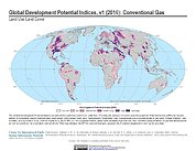Map: Development Potential Indices (2016): Conventional Gas