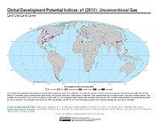 Map: Development Potential Indices (2016): Unconventional Gas