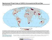 Map: Development Threat Index (2015): Unconventional Oil and Gas