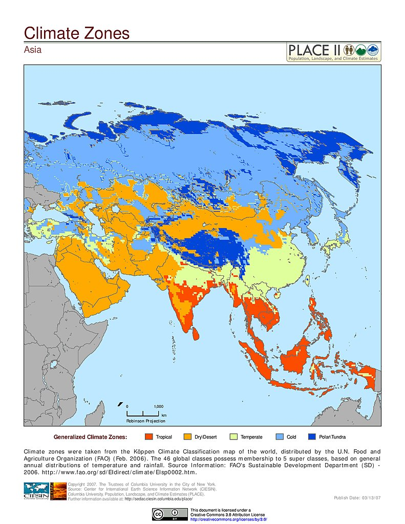 Map gallery sedac climate zones asia gumiabroncs Choice Image