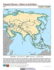 Map: 100 km & 200 km Coastal Zones: Asia
