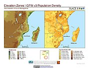 Map: Elevation Zones & Population Density: Southeastern Africa & Madagascar
