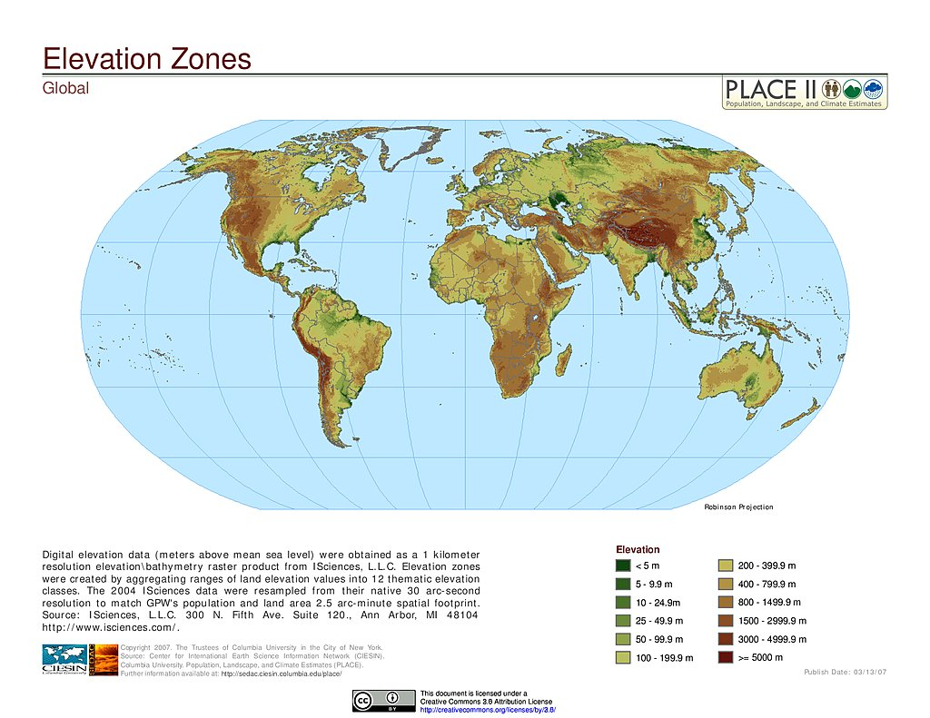 Maps Population Landscape And Climate Estimates PLACE V - World elevation map
