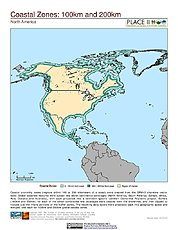 Map: 100 km & 200 km Coastal Zones: North America