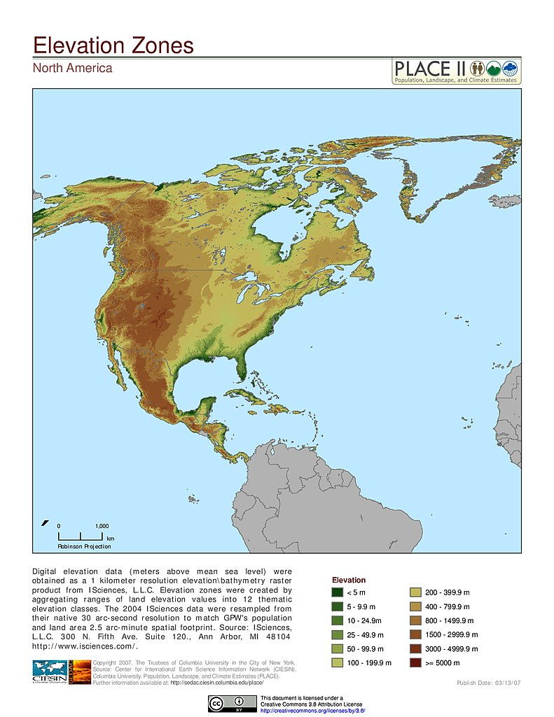 Map gallery sedac elevation zones north america gumiabroncs Gallery