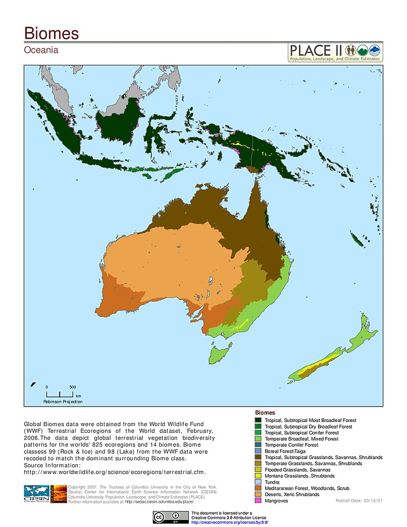 Map gallery sedac biomes oceania gumiabroncs Choice Image