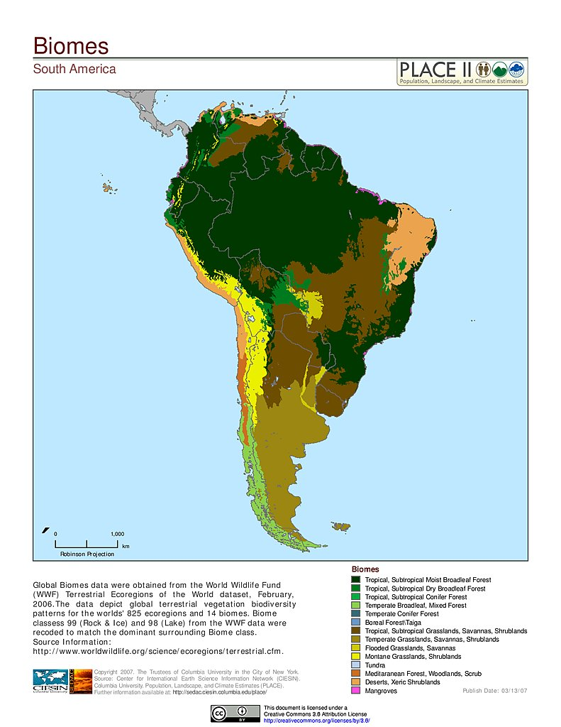 Map gallery sedac biomes south america gumiabroncs Images