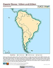 Map: 100 km & 200 km Coastal Zones: South America