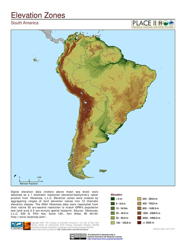 Elevation Zones South America