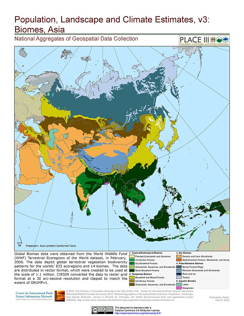 Location Of Asia In World Map.Maps Population Landscape And Climate Estimates Place V3 Sedac