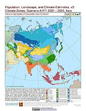Map: A1F1 - Climate Zones (2001-2025): Asia