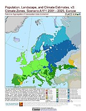 Map: A1F1 - Climate Zones (2001-2025): Europe
